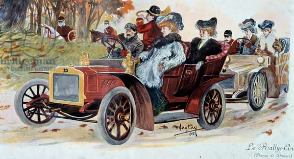 """Belle epoque: """""""" The car rally"""""""" Illustration by Anglay (?) 1905 Paris, decorative arts"""