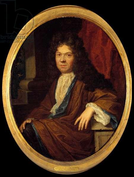 Portrait of Jean de la Bruyere (1645-1696) moralist francais Painting attributed to Caspar (Gaspar) Netscher (1639-1684). 17th century Sun. 0,44x0,36 m  - Portrait of Jean de la Bruyere (1645-1696), French moralist. Painting attributed to Gaspar (Caspar) Netscher (1639-1684). 17th century. 0.44 x 0.36 m.