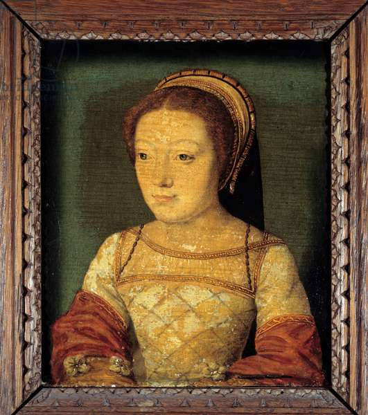 Portrait of Renee of France, daughter of Louis XII, Duchess of Ferrara (1510 - 1575). Oil on wood, 0.16 x 0.13 m. anonymous painting. French school of the 16th century.