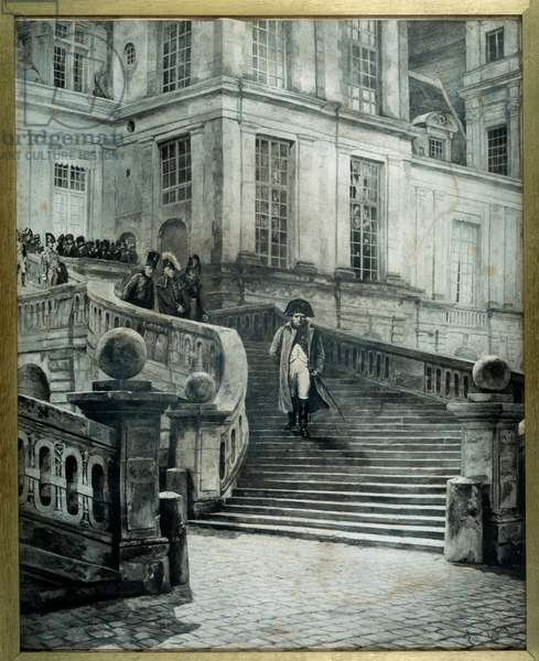 Napoleon a Fontainebleau after the abdication on 4 April 1814 - Engraving by Georges Jules Auguste Cain (1856-1919), 1814 - 0,50 x 0,75m Malmaison, Musee Du Chateau
