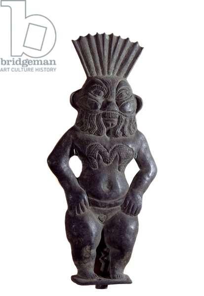 Art Egypt: Sculpture of Bes, home god in Egyptian mythology. Paris, Musee Du Louvre
