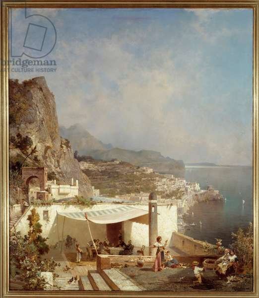 The Bay of Naples. Painting by Franz Richard Unterberger (1838-1902) Ec. Bel., 19th century. Meaux, Bossuet Museum
