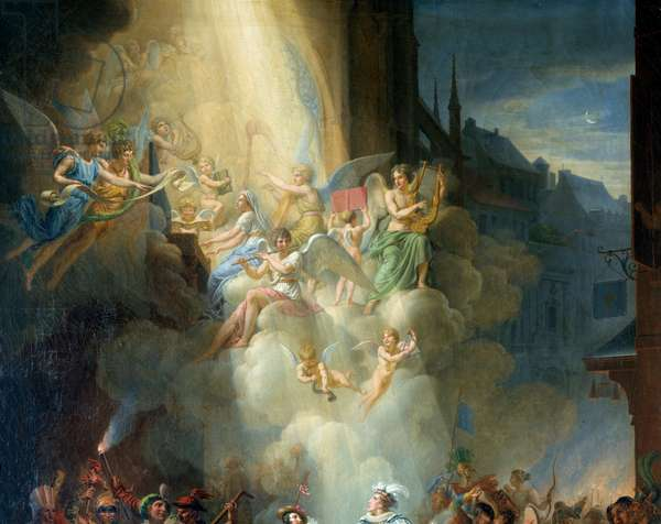 """Detail of """""""" The conversion of Henri de Joyeuse"""""""" (16th century). Musician angels. Painting by Jean Charles Tardieu (1765-1830), 19th century. Meaux, Bossuet Museum"""