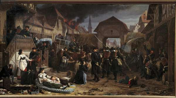 """War of 1870: """""""" The requisitions at Reichshoffen"""""""" The Battle of Froeschwiller Woerth (Froeschwiller-Woerth) (or Battle of Reichshoffen) on 06/08/1870 saw the victory of Prussia - Painting by Benjamin Ullmann (1829-1884) 1871 Nancy, Musee historique Lorraine"""