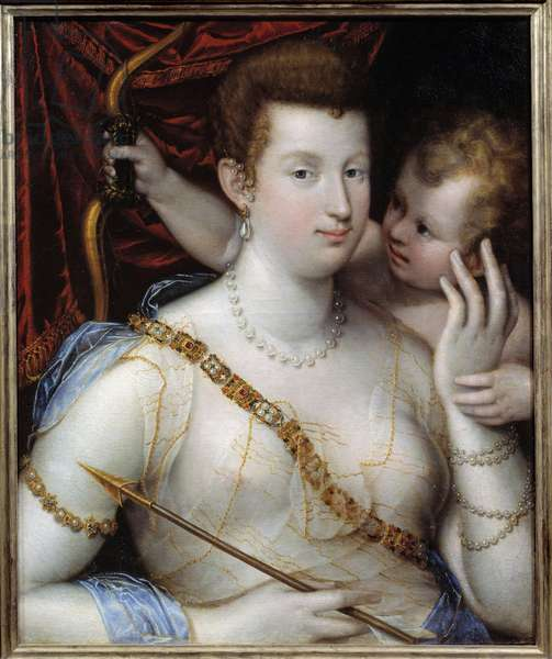 Venus and Cupid Painting by Lavinia Fontana (1552-1614) 1592 Sun. 0,72x0,5 m Rouen Museum of Fine Arts
