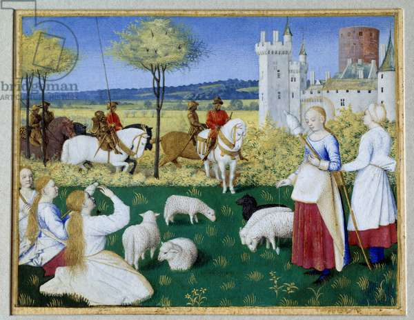 """Saint Margarita of Antioch (3rd century) and Olibrius also known as Margarita keeping the sheep Episode of the Legende Doree of James (Jacobus) of Voragine (1228-1298). Prefet Olibrius suddenly falls in love with- Margarita, a young shepherd busy spinning wool and indifferent to him. Miniature taken from """""""" The Book of Hours of Etienne Chevalier"""""""" by Jean Fouquet (1420-1477/1481), 15th century. Dim. 0,091x0,12 m. Paris, Louvre Museum"""