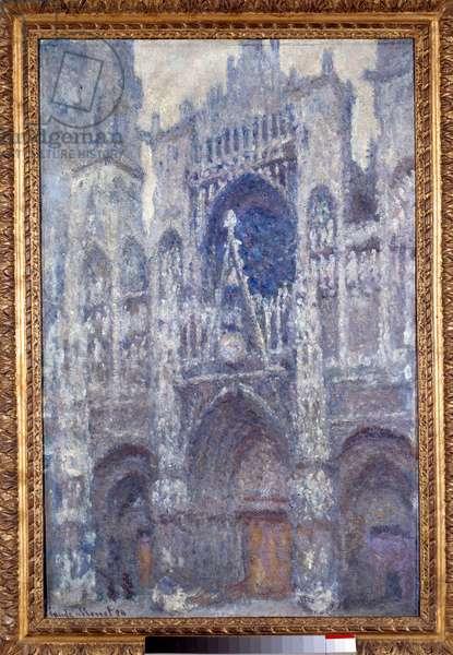 La cathedrale Notre Dame de Rouen, le portal, temps gris, harmonie grise Painting by Claude Monet (1840-1926) 1892 Sun. 1x0,65 m Paris, musee d'Orsay - Rouen Cathedral, the Portal, dull wheather, harmony in grey. Painting by Claude Monet (1840-1926) 1892. 1 x 0.65 m. Orsay Museum, Paris