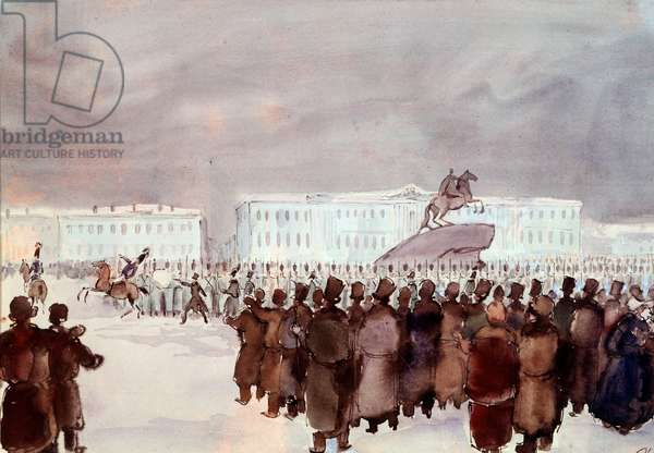 The crowd in Senat Square during the Decembrist revolt in 1825. Decembrist or Decabrist members of a hard repressed coup attempt organized in St. Petersburg on 14 December 1825 to obtain a constitution from the future tsar to modernize the regime. Anonymous watercolour, 19th century. Saint Petersburg, Hermitage