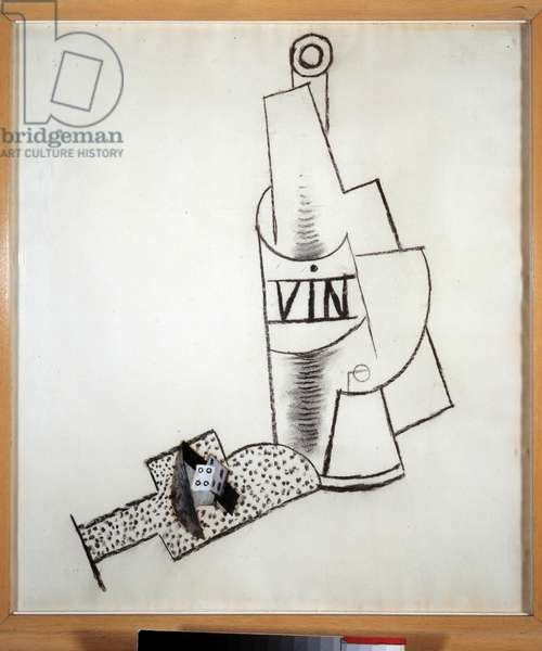 Bottle of wine and Collage, charcoal, oil and gouache by Pablo Picasso (1881-1973) 1914. Dim. 0,49x0,43 m. Paris, Musee Picasso
