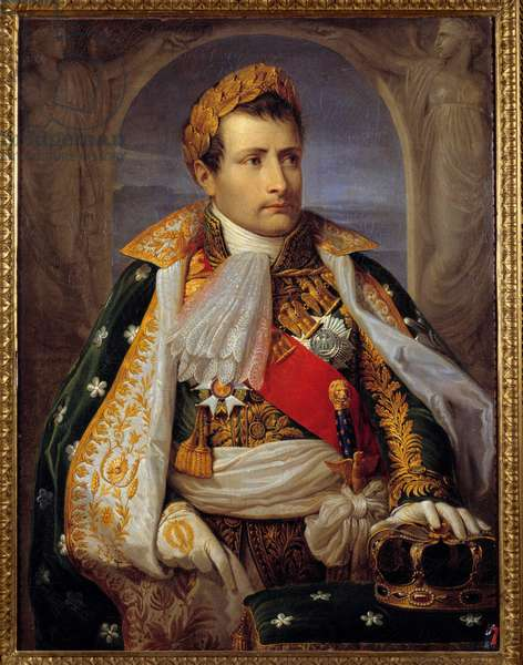 Portrait of Napoleon Bonaparte (1769-1821) in costume of King of Italy Painting by Andrea Appiani (1754-1817) 19th century Sun. 0,98x0,74 m Ile d'Aix, Napoleonic musee - Portrait of Napoleon Bonaparte (1769-1821) depicted as King of Italy. Painting by Andrea Appiani (1754-1817) 19th century. 0.98 x 0.74 m. Napoleonic Museum, Ile d'Aix, France