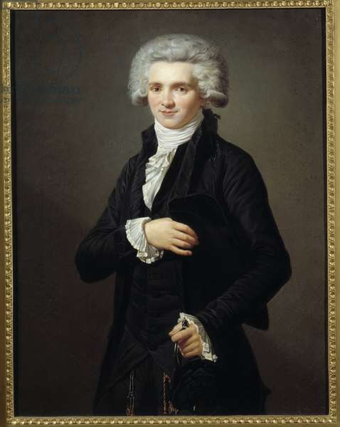 Portrait of Maximilian by Robespierre (1758-1794) conventional in the dress of depute of the Third State. Painting by Pierre Vigneron (1789-1872) Ec. Fr., 1860. Oil on canvas. Dim: 0.75 x 0.58m.  - Portrait of Maximilien by Robespierre (1758-1794) dressed as a deputy of the Estates-General for Third Estate during the Convention. Painting by Pierre Vigneron (1789-1872), French School, 1860. Oil on canvas. 0.75 x 0.58 m.