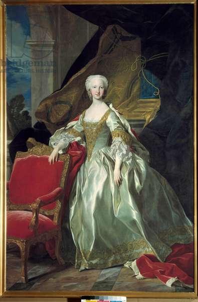 Portrait en pied de Marie Therese (Marie-Therese) Raphaelle, Infante d'Espagne, Dauphine de France (1726 - 1746). Painting by Louis Michel Van Loo (1707 - 1771), 1744. Oil on canvas.  - Full-length portrait of Maria Teresa Rafaela, Infanta of Spain, Dauphine of France (1726-1746). Painting by Louis Michel Van Loo (1707-1771), 1744. Oil on canvas.
