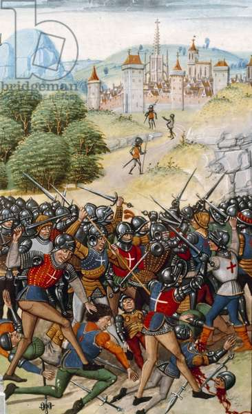 """Hundred Years' War: The Battle of Pontvallain between French and English on 4/12/1370"""" Miniature from """"Chronicles"""""""" by Jean Froissart (1337-1400) 15th century Paris. B.N."""