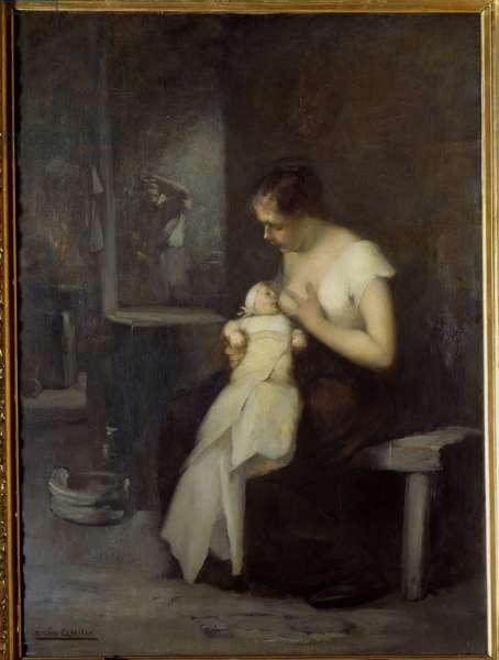 Nursing Woman Painting by Eugene Carriere (1849-1906) 1879 Sun. 0,81x0,59 m Rouen, Musee des Beaux Arts