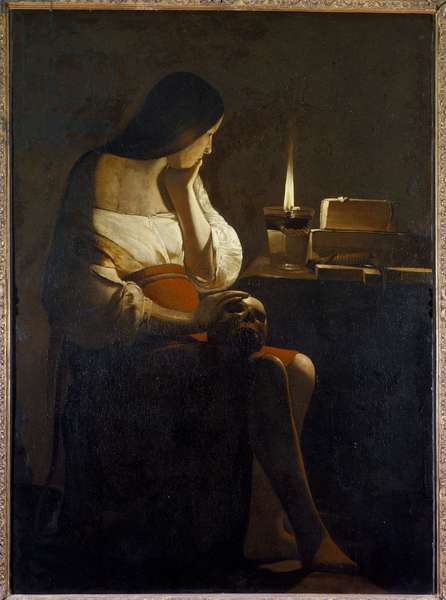 La Madeleine has the night light Painting (Vanite) by Georges de La Tour (1593-1652) 17th century Sun. 1,28x0,94 m Paris, Musee du Louvre