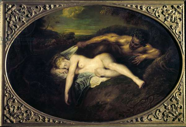 "Nymph and satyre or """" Jupiter et Antiope"""" Painting by Jean Antoine Watteau (1684-1721) 18th century Sun. 0,73x1,07 m Paris, musee du Louvre"