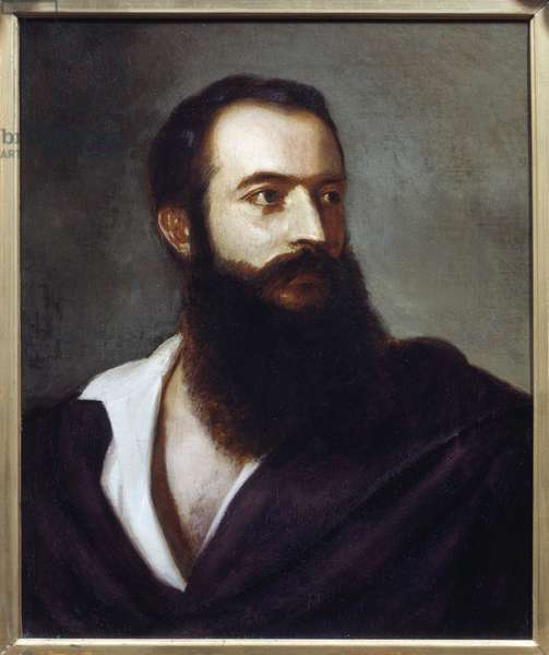 Portrait of Felice Orsini (1819 - 1858) perpetrator of the 14 January 1858 attack on Napoleon III. Painting by Louis Bucheister (? -1881), Italy. Oil on canvas. Dim: 0,47 x 0,38m. Paris, Musee Carnavalet