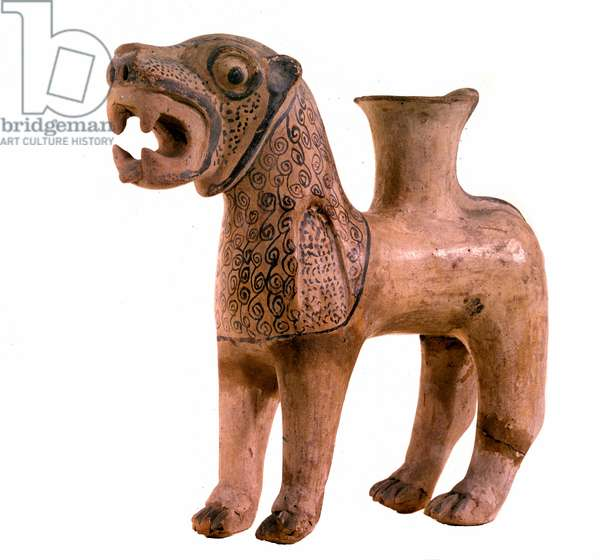 Lion shaped vase in terracotta. From Anatolia, Kanesh. Period of Assyrian counters (ca. 1950-1600 BC), Mesopotamie. Paris, Louvre Museum