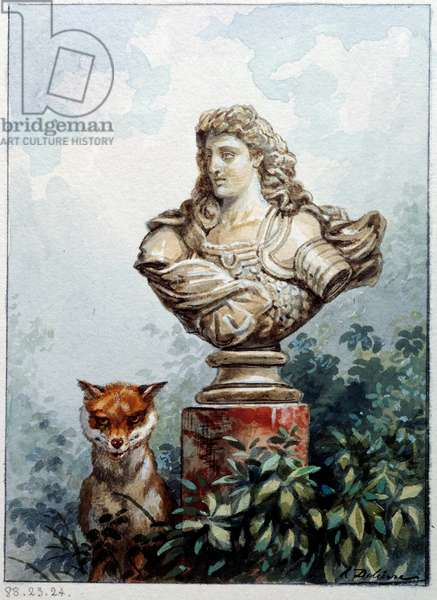 The fox and the bust. Illustration of the fable by Jean de La Fontaine (1621-1695), 17th century. Lithograph by Auguste Delierre (1829 -?) , 19th century. Chateau Thierry, Musee La Fontaine