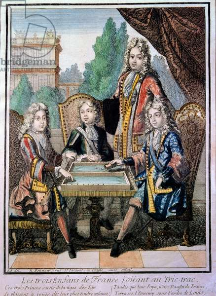 The grandchildren of Louis XIV (1638-1715), Louis Duke of Burgundy (d. 1712), Philippe, Duke of Anjou (1683-1746), and Charles, Duke of Berry with their father, Louis (d. 1711), dolphin of France, playing tric trac (Trictrac or Trictrac: ancestor of backgammon). Engraving by Nicolas Bonnard (1646-1718) 17th century Paris, decorative arts
