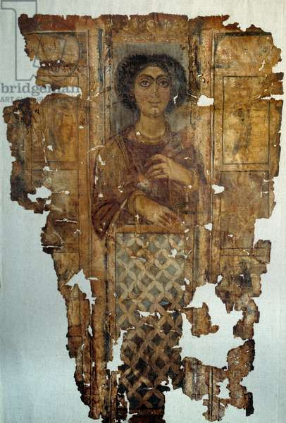 Egyptian antiquite: linen shroud painted and doree of a woman from Antino. 4th century AD. Paris, Louvre Museum