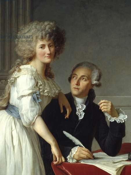 """Detail of """""""" Antoine Laurent Lavoisier (1743-1794) avec Madame Lavoisier"""""""" Painting by Jacques Louis David (1748-1825), 1788. (h s/t 2,59 X 1,94). The Metropolitan Museum of Art, New York."""