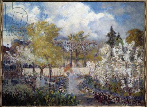 Le jardin de Claude Monet a Giverny Painting by Mary Mac Monnies (1858-1946) 1901. Vernon, Musee Poulain.