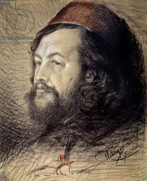 Portrait of Theophile Gautier (1811-1872) Charcoal and pastel drawing by Auguste Clesinger (1814-1883) 1851 Sun. 0,77x0,65 m Versailles, musee du chateau