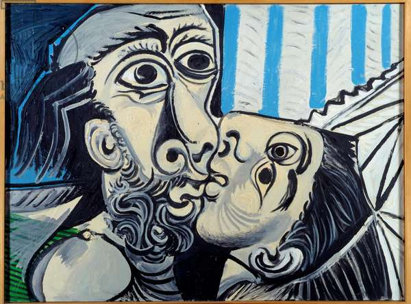 The kiss. oil on canvas. Dim: 0,97 x 1,30m. Painting by Pablo Picasso (1881-1973), 1969. Paris, Musee Picasso