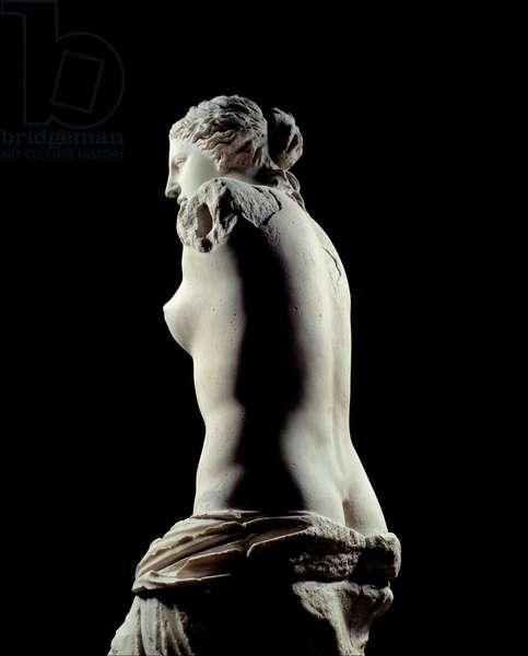 The Venus de Milo Detail of a sculpture depicting Aphrodite in marble. 100 BC. Sun 2.02 m. From the island of Milos in Greece. Paris, Louvre Museum