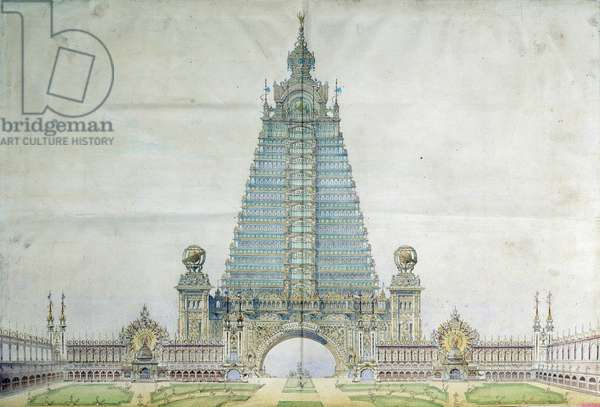 Project to transform the Eiffel Tower for the 1900 World Exhibition. Engraving. Paris, National Archives