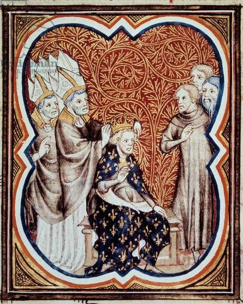 """Le corre du roi Louis VI dit le Gros (1081-1137) Miniature taken from """"Les grandes chronicles de France"""""""" by Jean Fouquet (1420-1481) 15th century Paris, B.N."""