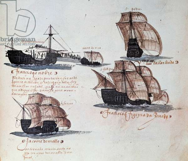 Memorials of the Armadas of Portugal under King Manuel I (1469-1521): representation of the caravels of the Portuguese fleet. Miniature from a manuscript from 1497. Lisbon. National Museum of Ancient Art