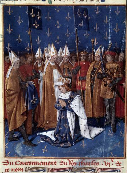 "Sacred Charles VI in Reims in 1380. Miniature in """" Grandes Chronicles de France"""" (Folio 457v), enluminated by Jean Fouquet (1420-1481) 1455-1460. BN, Paris."