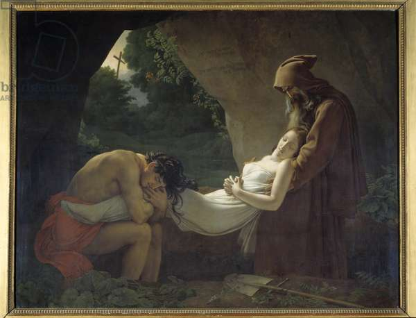 Atala to the tomb or funeral of Atala. Painting by Anne Louis Girodet de Roucy-Trioson (Anne-Louis Girodet de Roucy Trioson, 1767-1824), 1808. Oil on canvas. Dim: 2,07x2,67m. Louvre Museum