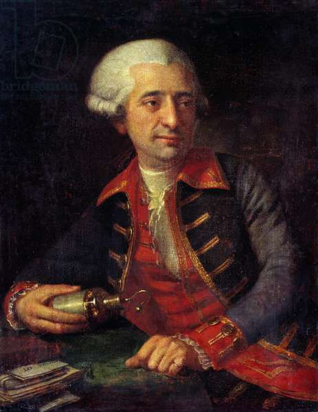 Portrait of Antoine Louis Lavoisier (1746-1794) French chemist in uniform as Inspector General of Powders of Armees of Land and Sea. Painting by Francois-Louis Brossard de Beaulieu (1727-1810). Chateaux de Versailles and Trianon, Versailles, France.