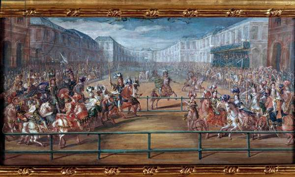 The pompous carousel of the gallant amazons of the four parts of the world gave by Louis XIV in front of the Tuileries on June 5, 1662 Painting a gouache attributed to Jean-Baptiste Martin (the Elder) (1659-1735). Dim. 0,23x0,45 m. Versailles, chateaux of Versailles and Trianon - Carousel of Amazons in 1662. Gouache, 0.23 x 0.45 m. Versailles, Castles of Versailles and Trianon by Jean Baptiste Martin (1659-1735)