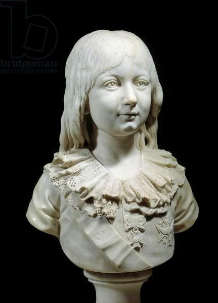 Bust of the future Dauphin Louis XVII (1785-1795) Marble sculpture by Pierre Louis Deseine. Around 1790. Versailles, castle museum