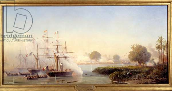 """Episode of the expedition of Cochinchine: """""""" Capture of the citadel of Saigon by Vice Admiral Rigault de Genouilly commanding the Franco-Spanish expeditionary force 17/02/1859"""""""" Painting by Antoine Leon Morel Fatio (1810-1871) 1859 Sun. 0,83x1,82 m"""