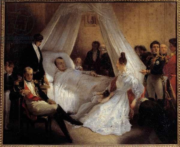 Emperor Napoleon I (1769-1821) on his deathbed 5/05/1821 on the island of Saint Helene Painting by Charles Augustus Steuben (1788-1856) 1821 Sun. 0,37x0,45 m Ile d'Aix, Napoleonic museum
