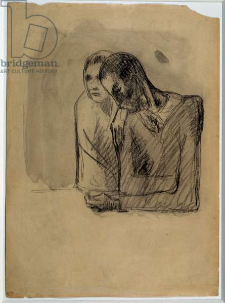 Study for the couple. Drawing by Pablo Picasso (1881-1973), 1904. Black pencil on paper prepared for washing. Dim: 0.37 x 0.27m. Paris, Musee Picasso.