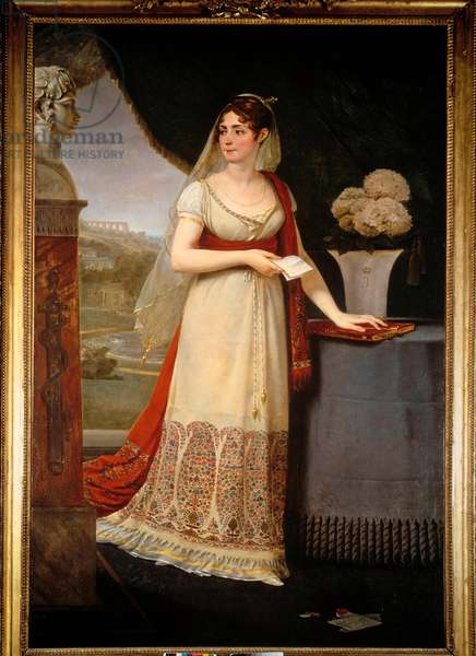 Portrait en pied de Josephine de Beauharnais (1763-1814) She looks at a bust depicting her son, Eugene Rose de Beauharnais dit le Prince Eugene (1781-1824), a Malmaison - Painting by Antoine Jean Gros (1771-1835), 1808 - Musee Massena, Nice