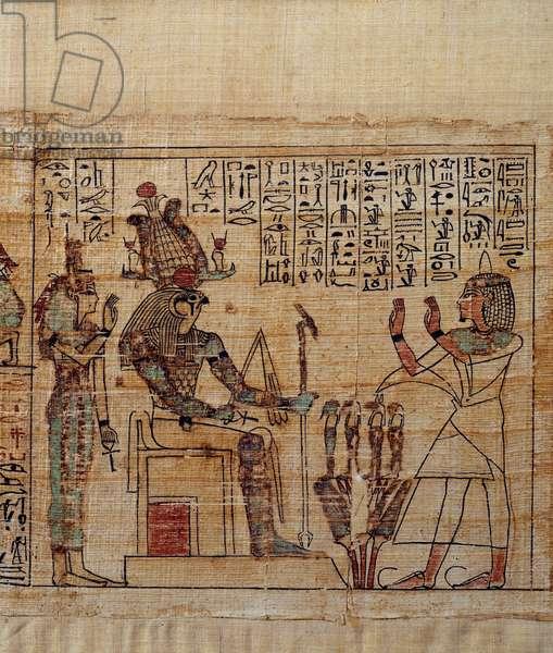 Ancient Egyptian Art: Mythological Papyrus of Serimen. serimen in worship before the god ptah-sokar-osiris followed by Isis. Manuscript of the 21st dynasty (ca. 1069-945), third intermediate period (ca. 1069-664 BC). Painting.