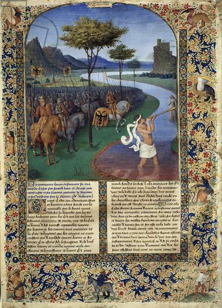 """The Passage of Rubicon by Jules Cesar The Roman general Jules Cesar crossed the Rubicon on 11/01/49 BC which constitutes the separation between Cisalpine Gaul and Italy. Miniature from """""""" Ancient History to Cesar and Facts of the Romans"""""""" by Jean Fouquet (1420-1481) Dim. 0.32 X 0.44 m. Paris, Louvre Museum"""