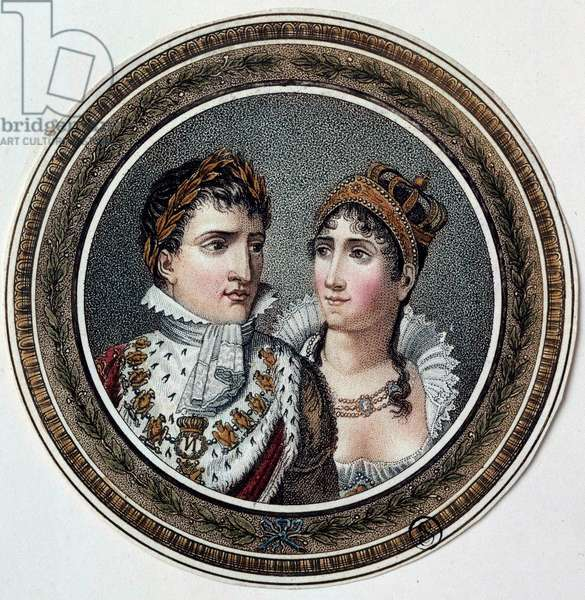 Portrait of Napoleon I (1769-1821) and Josephine de Beauharnais (1763-1814) Painting on lid of candy. 19th century Paris, Musee du Louvre