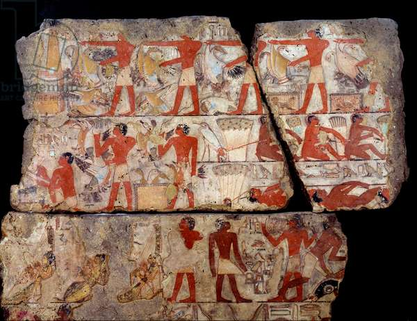Egyptian antiquite: painting of the mastaba of Metchetchi. Scene of daily life (hunting, fishing, offering) in Egypt at the time of the 6th dynasty. 2400-2300 BC. From the site of Saqqara (Sakkara)