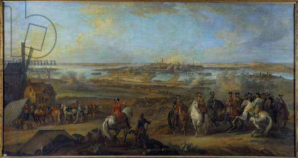 """Campaign of Flanders (1745-1747): """""""" King Louis XV (1710-1774) at the seat of Mons in Hainaut in July 1746"""""""" Painting by Pierre Nicolas Lenfant (1704-1787) 18th century Sun. 1,77x3,35 m"""