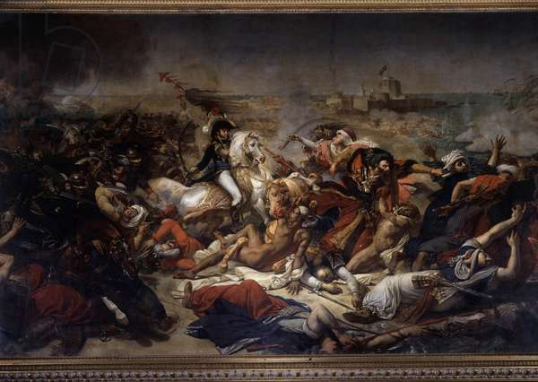Campaign (Expedition) of Egypt (1798-1801): Joachim Murat (1767-1815) during the Battle of Aboukir on July 25, 1799 - Painting by Antoine Jean Gros (1771-1835), 1806 - Oil on canvas, Sun: 5,78 x 9,68 m  - Campaign of Egypt (1798-1801): Joachim Murat (1798-1801) 7-1815) during the Battle of Aboukir, July 25, 1799 - Painting by Antoine Jean Gros (1771-1835), 1806 - Oil on canvas. 5,78 x 9,68 m. Versailles, Castles of Versailles and Trianon
