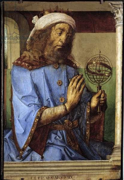 Portrait of Ptolemee (Claudius Ptolemaeus, ca. 90-168), Greek astronomer. Painting by Pedro Berruguete (ca. 1450-before 1504) and Just Of Ghent (1435-1480) Ec. Flam, 15th century. Oil on wood. Dim: 0.98 X 0.66m.  - Portrait of Ptolemy (or Ptolemee - Claudius Ptolemaeus, circa 90-168), Greek astronomer. Painting by Pedro Berruguete (ca. 1450-before 1504) and Juste De Ghent (1435-1480). Flemish School, 15th century. Oil on wood. 0.98 x 0.66 m. Louvre Museum, Paris