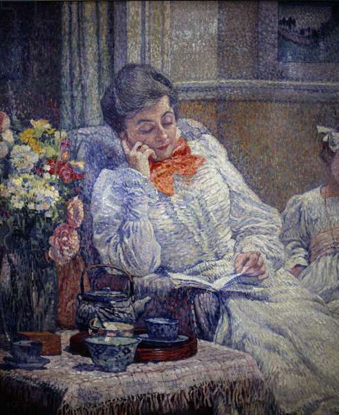 "Belle epoque: """" Woman Reading"""" Painting by Theodore Van Rysselberghe (1862-1926) 1899 Brussels, Royal Museum of Fine Arts"